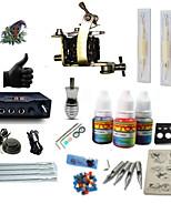 Kits de aprendiz de tatuaje  1 x máquina de tatuaje de acero para línea y sombreado LCD de suministro de energía 5 x aguja de tatuaje RL 3
