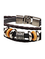 Men's Leather Bracelet Metallic Punk Leather Alloy Round Anchor Jewelry For Casual Stage