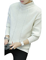 Для мужчин На выход На каждый день Простое Очаровательный Уличный стиль Длинный Пуловер Однотонный Полоски С принтом,Хомут Длинный рукав