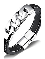 Titanium steel woven leather bracelet unisex fashion and personality