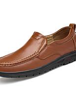 Для мужчин Мокасины и Свитер Удобная обувь Весна Осень Наппа Leather Повседневные На плоской подошве Черный Темно-русый Темно-коричневый