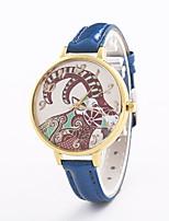 Жен. Модные часы Кварцевый Кожа Группа Повседневная Черный Белый Синий Серебристый металл Красный Коричневый Розовый Роуз