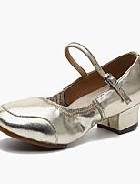 Women's Modern Faux Leather Leatherette Heel Outdoor Chunky Heel Silver Gold