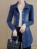 Veste en jean Femme,Couleur Pleine Décontracté / Quotidien simple Automne Hiver Manches longues Col de Chemise Longue Polyester