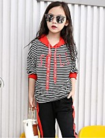 Girls' Striped Sets,Cotton Polyester Fall Long Sleeve Clothing Set