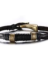 Муж. Кожаные браслеты Хип-хоп Rock Кожа Титановая сталь В форме линии Бижутерия Назначение Для вечеринок День рождения