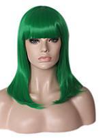 Femme Perruque Synthétique Sans bonnet Mi Longue Long Raide Droit crépu Vert Ligne de Cheveux Naturelle Perruque afro-américaine Coupe