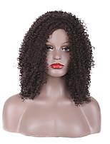 жен. Парики из искусственных волос Без шапочки-основы Короткий Средний Волнистые Kinky Curly Темно-рыжий Прямой пробор Для темнокожих