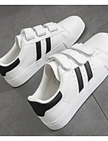 Women's Shoes PU Fabric Spring Fall Comfort Sneakers For Casual White/Silver Black/White White