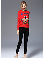Для женщин На каждый день Простое Обычный Пуловер С принтом,Круглый вырез Длинный рукав Искусственный шёлк Осень Средняя Слабоэластичная