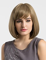 Women Synthetic Wig Capless Medium Straight Light Brown Bob Haircut With Bangs Natural Wigs Costume Wigss