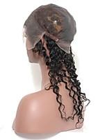 onda profunda virginal humano indio 360 cordón cierre frontal con el casquillo cabeza llena del cordón venda cierre natural negro