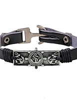 Men's Leather Bracelet Personalized Rock Leather Alloy Round Anchor Jewelry For Stage Going out