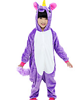 Kigurumi Pajamas Flying Horse Festival/Holiday Animal Sleepwear Halloween Purple Blue Pink Fashion Solid Color Embroidered Flannel Fabric