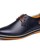 Для мужчин обувь Наппа Leather Весна Осень Удобная обувь Светодиодные подошвы Туфли на шнуровке Назначение Для вечеринки / ужина Черный