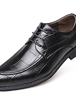 Men's Oxfords Formal Shoes Comfort Fall Winter Real Leather Leather Casual Office & Career Lace-up Flat Heel Brown Black Flat