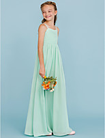 A-Line Princess Spaghetti Straps Floor Length Chiffon Junior Bridesmaid Dress with Criss Cross Pleats by LAN TING BRIDE®