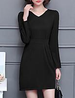 Для женщин На каждый день Большие размеры Простое Оболочка Платье Однотонный,V-образный вырез Выше колена Длинный рукав Полиэстер Осень