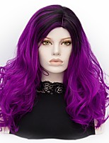 Women Synthetic Wig Capless Medium Deep Wave Purple Ombre Hair Halloween Wig Costume Wigs