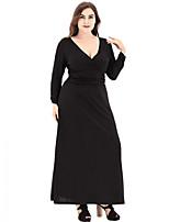 Для женщин На каждый день Большие размеры Уличный стиль А-силуэт Платье Однотонный,V-образный вырез Макси Длинный рукав Полиэстер Весна