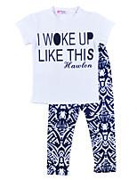 Girls' Print Sets,Cotton Summer Fall Short Sleeve Clothing Set