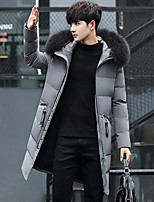 Men's Long Down Coat,Simple Street chic Plus Size Solid-Cotton Polypropylene Long Sleeves