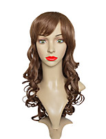 Women Synthetic Wig Capless Long Body Wave Brown With Bangs Party Wig Celebrity Wig Halloween Wig Cosplay Wig Natural Wigs Costume Wig