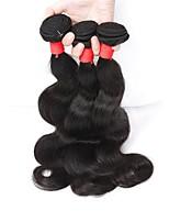 Натуральные волосы Индийские волосы Человека ткет Волосы Естественные кудри Наращивание волос 3 предмета Черный