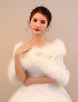 Women's Wrap Capelets Faux Fur Lace Wedding Party/ Evening Rhinestone Beading