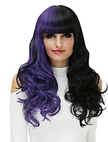 Mujer Pelucas sintéticas Sin Tapa Largo Marino Negro/purpúreo Peluca de Halloween Las pelucas del traje