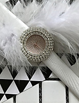 Mujer Reloj de Moda Simulado Diamante Reloj Reloj de Cristal Pavé Cuarzo Piel Banda Destello Negro Blanco Rojo Dorado