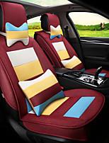 Flax Mosaic Rainbow Stripes Car Seat Cushion Seat Cover Seat Four Seasons General Surrounded By A Five Seat-Claret