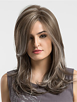 Mujer Pelucas sintéticas Sin Tapa Medio Ondulado Natural Medium Brown / Blonde de la fresa Pelo reflectante/balayage Peluca natural Las