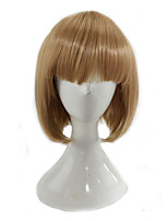 Women Synthetic Wig Capless Medium Straight Light golden Bob Haircut Lolita Wig Party Wig Celebrity Wig Halloween Wig Cosplay Wig Natural