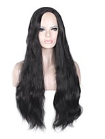 Mujer Pelucas sintéticas Sin Tapa Largo Marino Negro Pelo de seda base Raya en medio Peluca natural Peluca de fiesta Las pelucas del traje