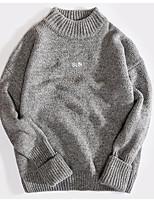Для мужчин На каждый день Простое Обычный Пуловер Однотонный,Круглый вырез Длинный рукав Хлопок Акрил Осень Зима Средняя Слабоэластичная