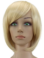 Women Synthetic Wig Capless Short Straight Black/Gold Dark Roots Bob Haircut Party Wig Natural Wig Costume Wigs