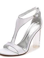 Femme Chaussures de mariage Salomé Escarpin Basique Bride de Cheville chaussures Transparent Printemps Eté Satin Mariage Habillé Soirée &