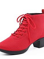 Для женщин Танцевальные кроссовки Дышащая сетка Кроссовки Для открытой площадки Кубинский каблук Черный Красный 5 - 6,8 см