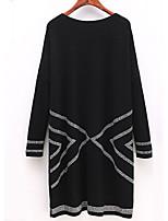 Для женщин На каждый день Большие размеры Винтаж Шинуазери (китайский стиль) Свободный силуэт Платье Полоски,Круглый вырез Выше колена