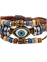 Men's Leather Bracelet Strand Bracelet Hip-Hop Personalized Leather Alloy Round Evil Eye Jewelry For Casual Stage
