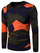 Для мужчин На каждый день Офис Простое Активный Шинуазери (китайский стиль) Обычный Пуловер Контрастных цветов,Круглый вырез Длинный рукав