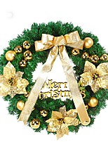 1PCS Christmas Wreath With Bow Door Drop Ornaments Wreath Room Decor 40CM