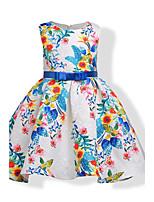 Vestido Chica de Cumpleaños Casual/Diario Vacaciones Floral Estampado Jacquard Algodón Sin Mangas Otoño Todas las Temporadas