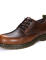 Men's Shoes Leatherette Fall Winter Combat Boots Oxfords Booties/Ankle Boots Lace-up For Casual Office & Career Brown Gray Black