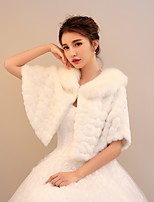 Women's Wrap Capelets Rabbit Fur Faux Fur Wedding Party/ Evening Rhinestone Pattern / Print Polka Dot