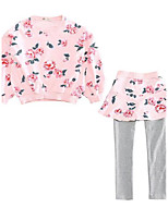 Girls' Floral Sets,Cotton Polyester Fall Long Sleeve Clothing Set