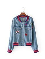 Для женщин На выход На каждый день Весна Осень Джинсовая куртка Воротник-стойка,Простой Уличный стиль Однотонный С принтом Контрастных