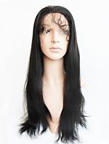 жен. Парики из натуральных волос на кружевной основе Бразильские волосы Натуральные волосы Полностью ленточные 130% плотность С пушком