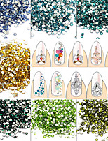 1440pcs/Pack 2mm SS6 Colorful Nail Art DIY Crystal Shining Rhinestone Normal Color Flat Back Rhinestone Jewelry Decoration Manicure Beauty Accessories